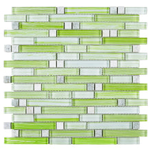TNLQG-04 Apple Green Glass Stripe Floral Mosaic Tile