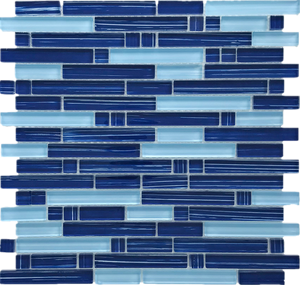 TNLQG-05B Brick Mix Blue Glass Mosaic Tile