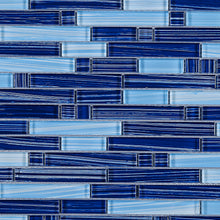 TNLQG-05 Brick Blue Stripe Glass Mosaic Tile