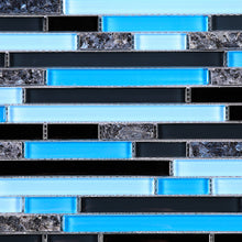 TNLQG-06 Blue Black Glass with Blue Pearl Marble Mosaic Tile