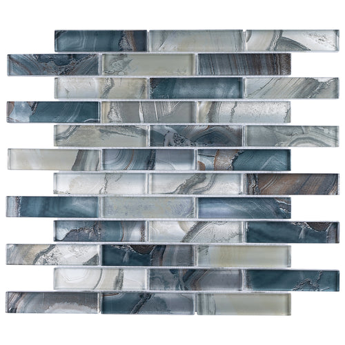 TOCSG-01 1x4 Swirl Blue Glass Mosaic Tile Backsplash