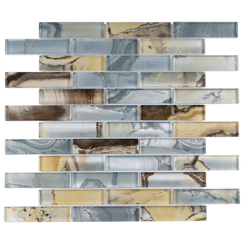 TOCSG-02 1x4 Swirl Brown Grey Glass Mosaic Tile Backsplash