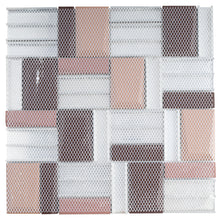 TPHANG-02 Brown Glass Mix With Aluminum 3x3 Grid Mosaic Tile Sheet Backsplash