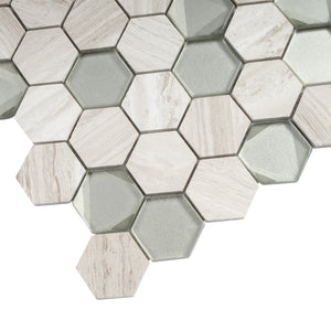 "TPHANG-03 Wooden Light Gray mix Grey Glass 2"" Hexagon Mosaic Tile Sheet Backsplash"