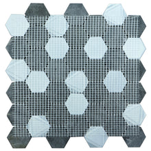 "TPHANG-05 Charcoal Marble and Charocoal Glass 2"" Hexagon Mosaic Tile Sheet Backsplash"