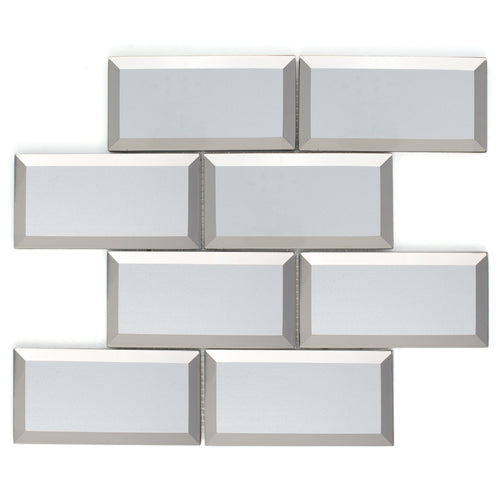 TRBMG-01 3x6 Silver with Foil Paper in the Back Glass Subway Tile With Bevel Backsplash Tile