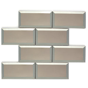 TRBMG-02 3x6 Champagne Bronze Foil Paper Back Glass Subway Tile With Bevel Backsplash