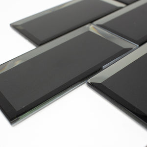 TRBMG-04 3x6 Charcoal Black Foil Paper Back Glass Subway Tile With Bevel Backsplash