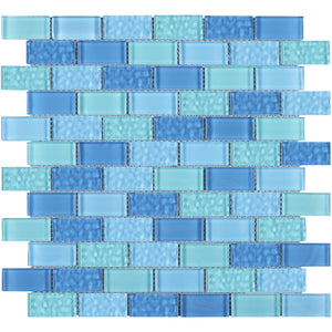 TEG-03 Blue 1x2 brick glass mosaic tile