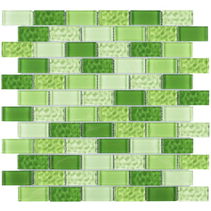 TRCEG-02 1x2 Brick Green Glass Mosaic Tile Sheet