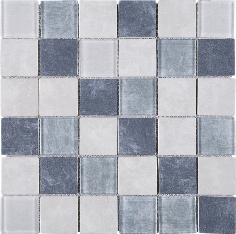 - TREGLG-01 Blue And White 2x2 Grid Recycle Glass Mosaic Tile Sheet