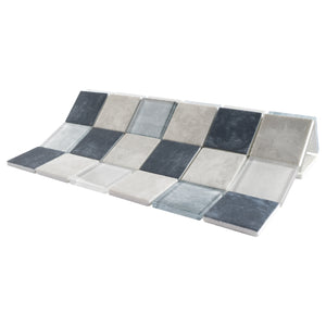 TREGLG-01 Blue and White 2x2 Grid Recycle Glass Mosaic Tile Sheet Backsplash