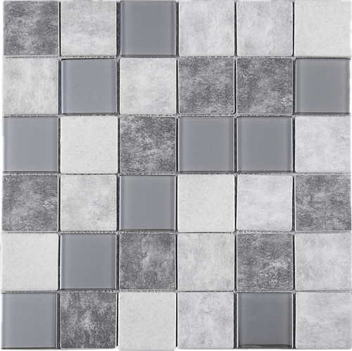 TREGLG-02 Grey 2x2 Grid Recycle Glass Mosaic Tile Sheet Backsplash