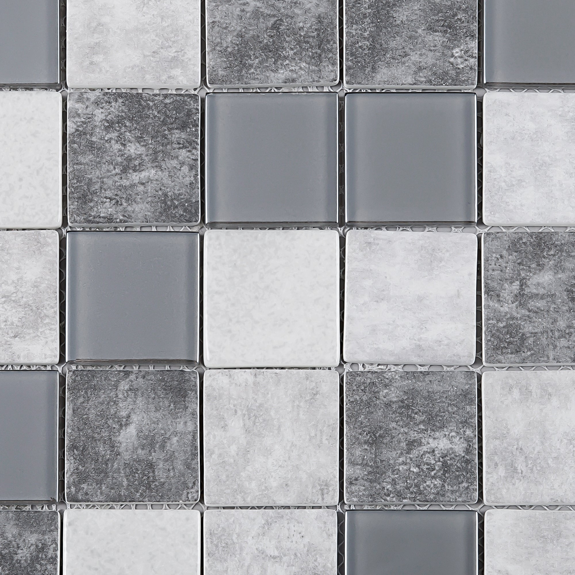 - TREGLG-02 Grey 2x2 Grid Recycle Glass Mosaic Tile Sheet Backsplash