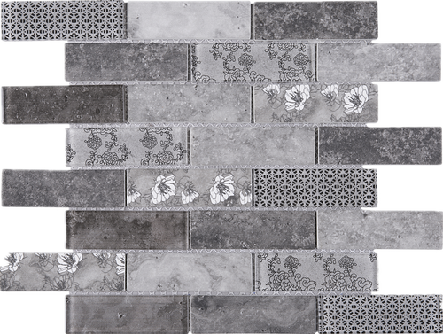 TREGLG-03 Grey 1x4 Brick Recycle Glass Mosaic Tile Sheet Backsplash