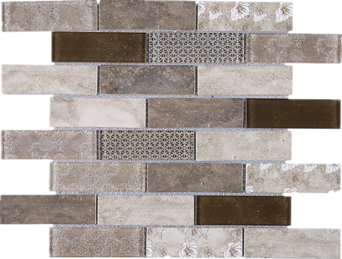 TREGLG-04 Brown 1x4 Brick Recycle Glass Mosaic Tile Sheet Backsplash