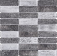 TREGLG-06 Mix Grey 1x4 Brick Recycle Glass Mosaic Tile Sheet Backsplash