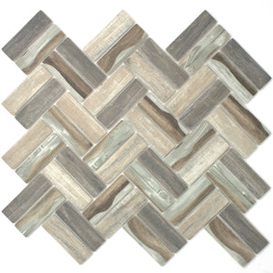 TREGLG-07 Recycle Glass Wooden Look Brown Herringbone Mosaic Tile Backsplash