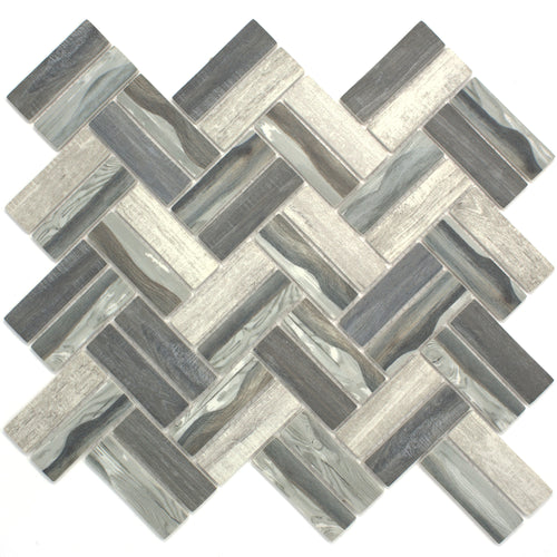 TREGLG-08 Recycle Glass Wooden Look Grey Herringbone Mosaic Tile Backsplash