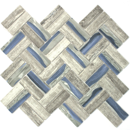 TREGLG-09 Recycle Glass Wooden Look Blue Herringbone Mosaic Tile Backsplash