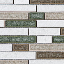 TPCG-02 Roman Art Brown Green White Small Brick Crashed Glass Mosaic Tile