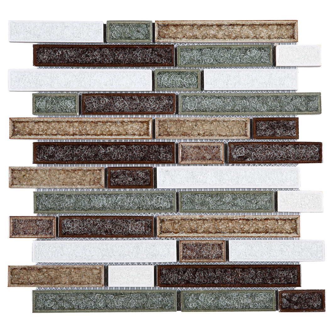TRPCG-03 Roman Art Multi Color Brown Small Brick Crashed Glass Mosaic Tile
