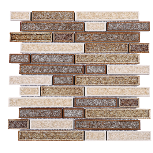 TRPCG-04 Roman Art Brown Small Brick Crashed Glass Mosaic Tile