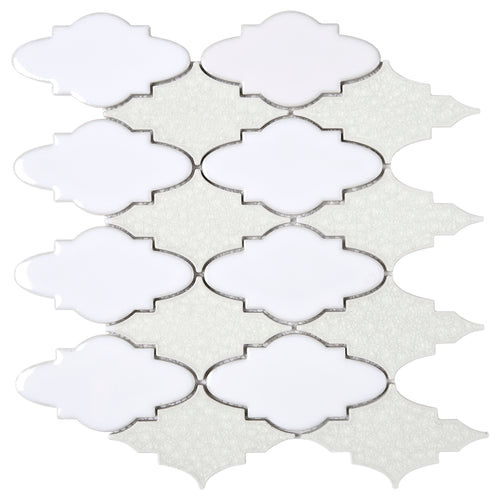 TRPCG-09 Roman Art Baby Face White Crashed Glass Mosaic Tile