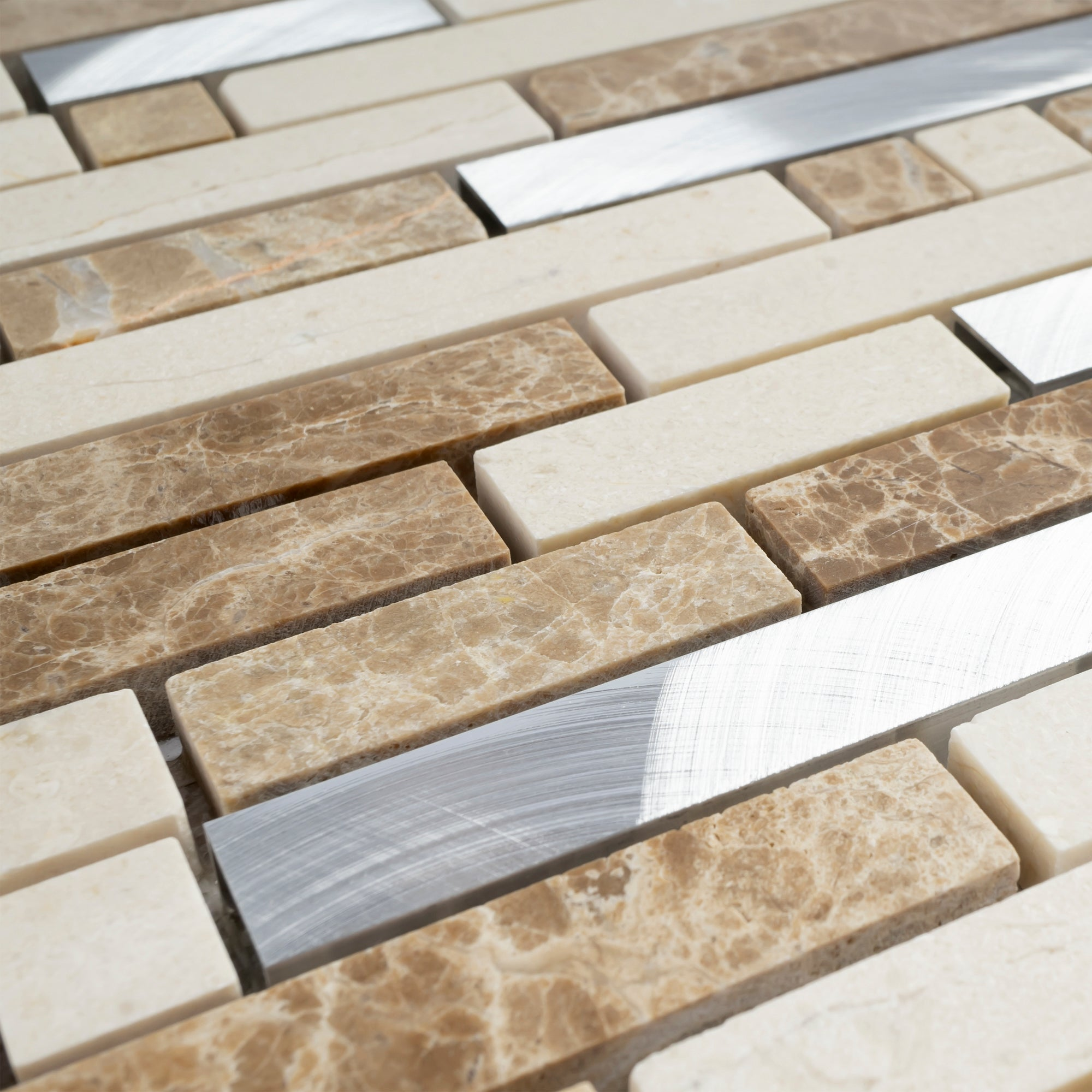 - TSBKG-02 Brick Light Emperador Stone And Aluminum Mosaic Tile
