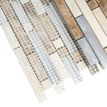 TSBKG-02 Brick Light Emperador Stone and Aluminum Mosaic Tile Backsplash