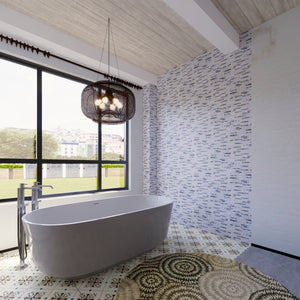 TSBKG-03 Brick White Glass and Wooden Beige and Aluminum Mosaic Tile Sheet