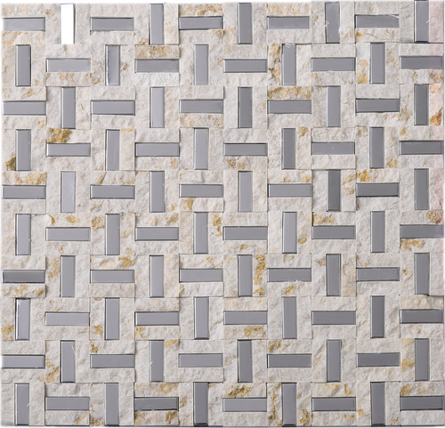 TMSG-17 Maze Basket Weave Light Emperador Slate Stone and Stainless Steel Backsplash Mosaic Tile Sheet