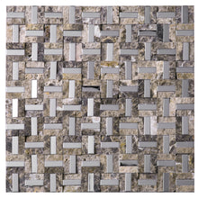 TSBKG-05 Maze Basket Weave Emperador Slate Stone and Stainless Steel Backsplash Mosaic Tile Sheet