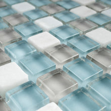 TSDFG-01 Blue & beige & white glass mini dot penny square mosaic tile sheet