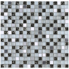 TFG-07 5/8 x 5/8 Silver & white glass mini dot penny square mosaic tile backsplash