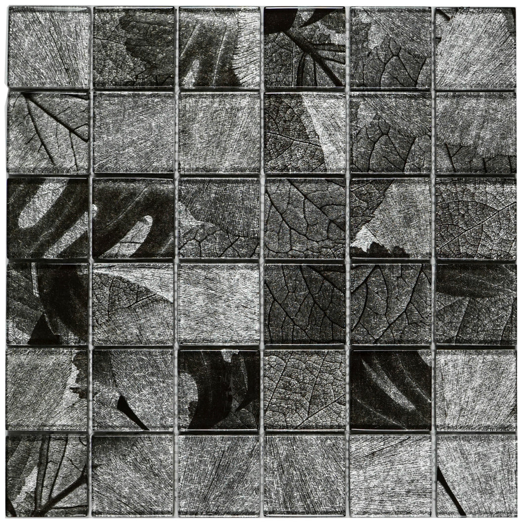 TSLG-01 2x2 Black Grey glass mosaic tile backsplash for kitchen and bath
