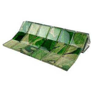 TSLG-02 2x2 green leaf glass mosaic tile backsplash for kitchen and bath