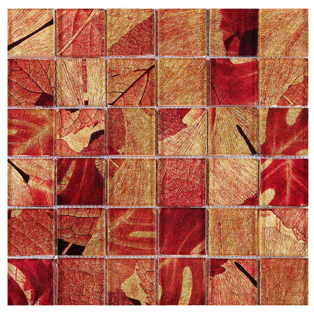 TSLG-03 2x2 Maple red glass mosaic tile backsplash for kitchen and bath
