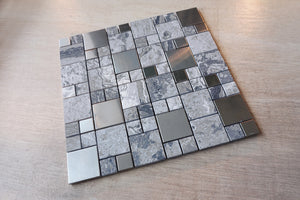 TSSGG-10 Random square grey stone and stainless steel