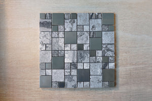 TSSGG-10 Random square grey stone and stainless steel mosaic tile sheet