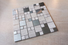 Random square beige stone and stainless steel mosaic tile sheet