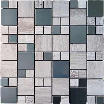 Random square stainless steel and stone mosaic tile