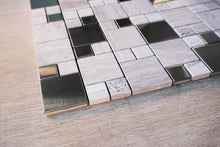 TSSGG-09 Square Fusion-Wooden Beige and Stainless Steel Mosaic Tile