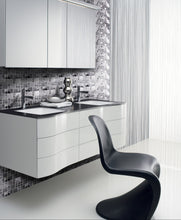 Random Grid Stainless Steel and Glass Mosaic Tile Kitchen and Bath Backsplash Wall Tile
