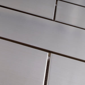 "TSSLG-02  2"" x 6"" Stainless Steel Brick Subway Metal Mosaic Tile Backsplash in Silver"