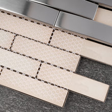 "TSMG-07 1""x4"" Brick Stainless Steel 3D Bridge Arched Metal Mosaic Tile"
