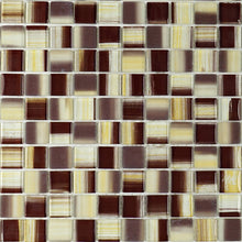 Brown square glass mosaic tile backsplash