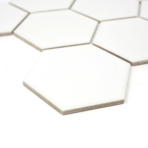 TPMG-03 White Large Hexagon Porcelain Mosaic Tile (Matt)