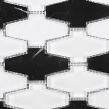 TCDNG-03 Irregular Shape Glass and Stone Mosaic Tile in Black/White