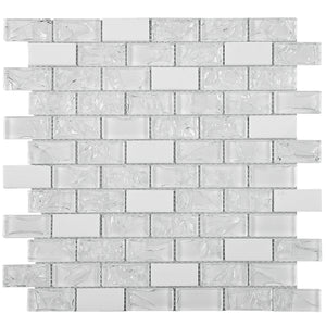 TCESG-01  1x2 Brick Crackled Glass Mosaic Tile in White backsplash wall tile
